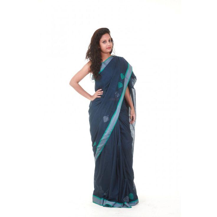 Cotton Silk Peacock Blue Basavan Bigha Saree