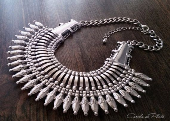 Nepal style spike necklace. Ethnic necklace. by CaneladePlata