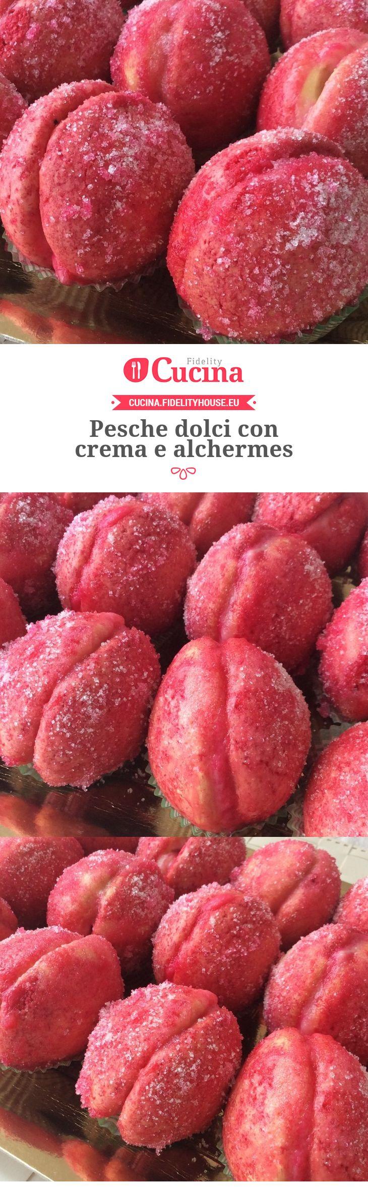 Pesche dolci con crema e alchermes