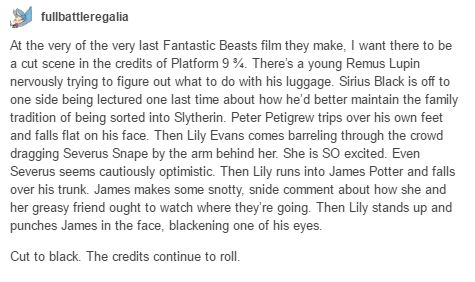 how Fantastic Beasts should end xD (in which they continue the series by making movies about the Marauders)