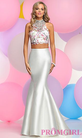 Two-Piece Lace Bodice Prom Trumpet Skirt Dress at PromGirl.com