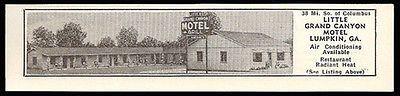 Little Grand Canyon Motel Ad Lumpkin Georgia 1953 Roadside Photo Ad Travel