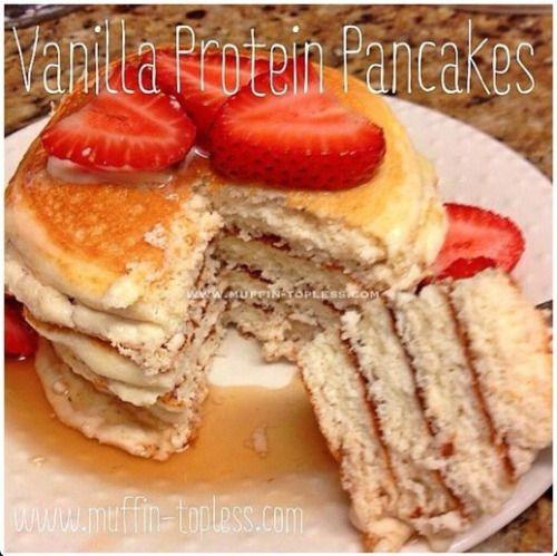 Oat Vanilla Protein Powder Pancakes with Greek Yogurt