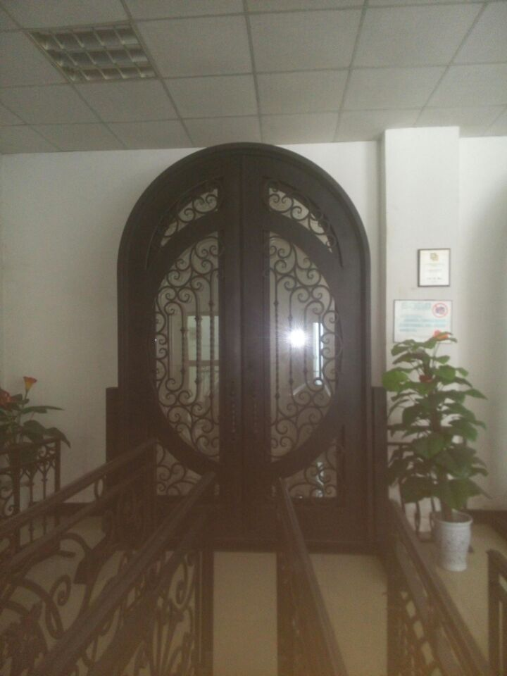 wrought iron front doors CAD wrought iron doors 8mm clear glass+ 12 gauge steel +8mm rain glass fixed shipping USA home $4500