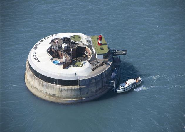 Spitbank Fort Private Island Sea Hotel. Nestled just a mile outside Portsmouth Harbor in Hampshire, England, this newly born boutique hotel is located in an abandoned sea fort (formerly used to defend against naval attacks from the French). Guests can access the hotel by ferry, and have the option of staying in several rooms from the Commodores and Admiral Suites, all the way up to the Crow's Nest luxury suites.