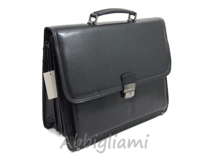 Borsa Ufficio Porta Documenti PC Simil Pelle Lavoro Cartella Soffietto 9015 Nero