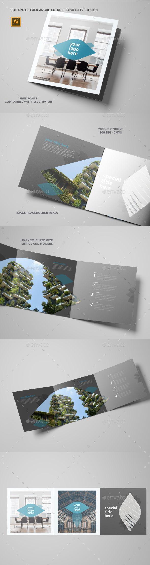 Square Architecture Trifold Brochure Template Vector EPS, AI Illustrator