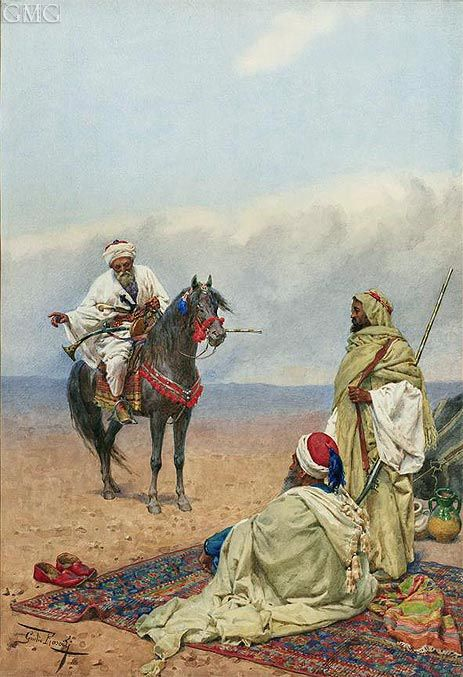 Title: A Horseman Stopping at a Bedouin Camp, undated Artist: Giulio Rosati Medium: Hand-Painted Art Reproduction