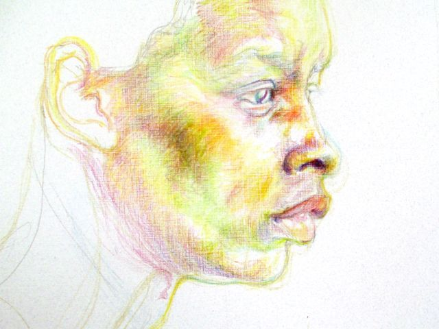 Colorful pencil portrait of a young woman.