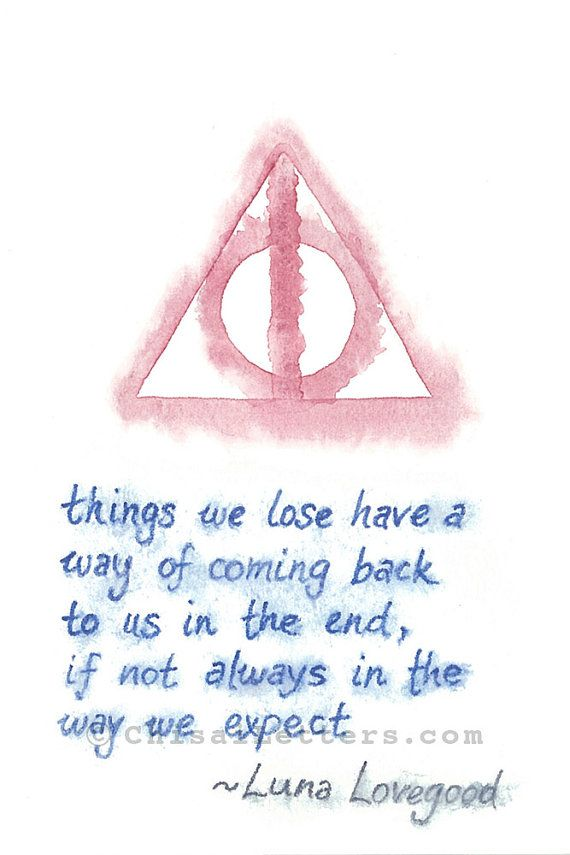 $36 Harry Potter inspired watercolor painting with the deathly hallows symbol and a quote from Luna Lovegood