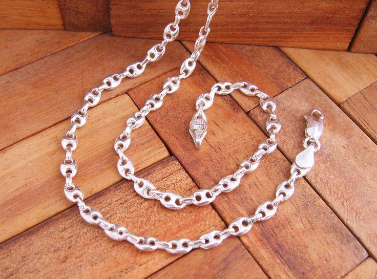 Collar Cadena Calabrote grueso 50 cm en Plata de Ley 925 ml