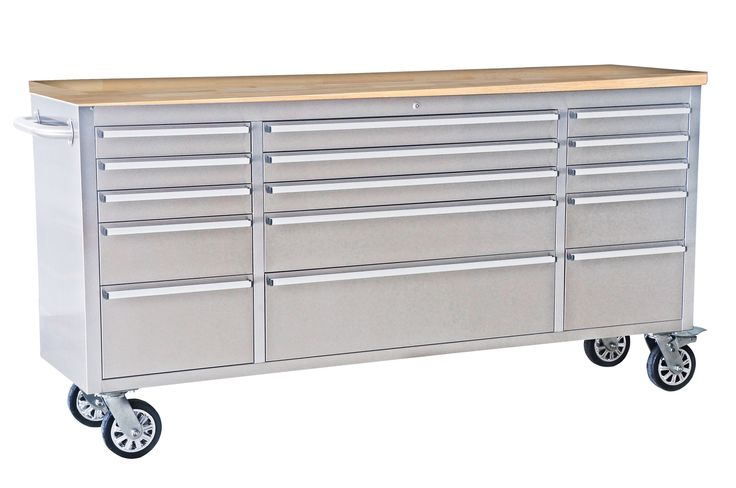 """37.5"""" Wide 15 Drawer Stainless Steel Anti-Fingerprint Tool Chest with Work Station"""