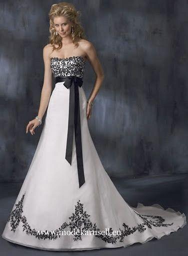 Romantisches Brautkleid Hochzeitskleid in Weiß Schwarz  www.modekarusell.eu