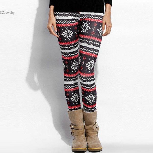 New Women Casual Fleece Thicken Christmas Leggings Slim Snow Print Warm Winter Leggings Sexy High Waist Female Pants