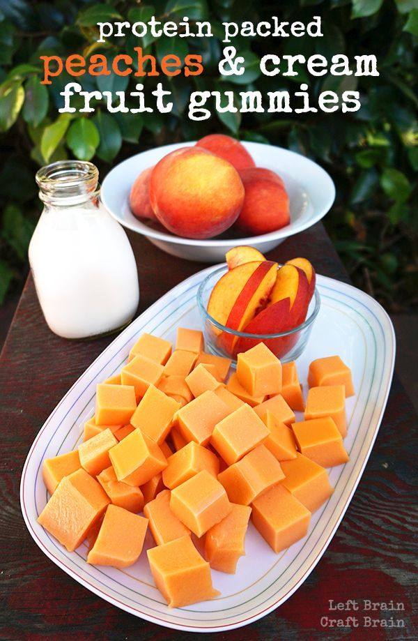 Make these delicious homemade peaches and cream fruit gummies for a protein-packed snack. Easy to make with only three ingredients! #ad