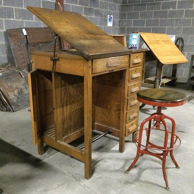 Wonderful 1930 Draftsman/engineers Oak Work Desk Mfg. By C. Christiansen Out