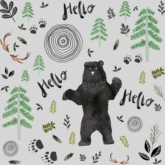 1 yard (or 1 fat quarter) of Hello Woodland Watercolor Bear - Gray by designer shopcabin. Printed on Organic Cotton Knit, Linen Cotton Canvas, Organic Cotton Sateen, Kona Cotton, Basic Cotton Ultra, Cotton Poplin, Minky, Fleece, or Satin fabric.  Available in yards and quarter yards (fat quarter). This fabric is digitally printed on demand as orders are placed. Unlike conventional textile manufacturing, very little waste of fabric, ink, water or electricity is used. We print using…