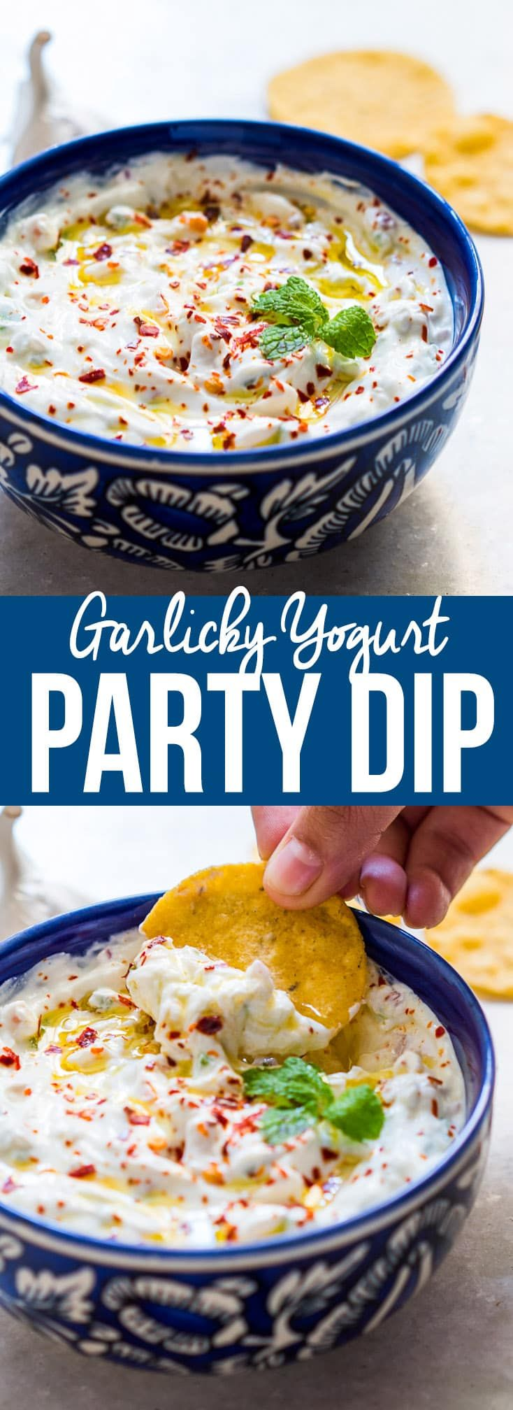 A light, refreshing and super addictive garlicky yogurt party dip to go with chips, wings, cutlets, fries and other finger food. Low calorie and healthy too.