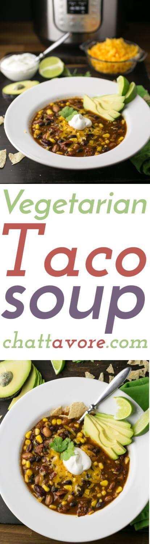 Vegetarian Taco Soup (Slow Cooker or Instant Pot)
