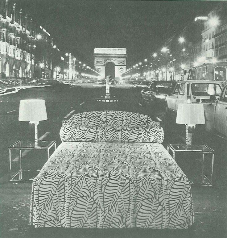 Treca Interiors Paris bed in Paris Champs Elysées in 1974
