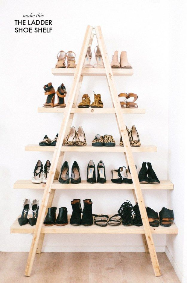 DIY Ladder Shoe Shelf   13 Awesome Bedroom Organization Ideas You Can Do Before Holidays