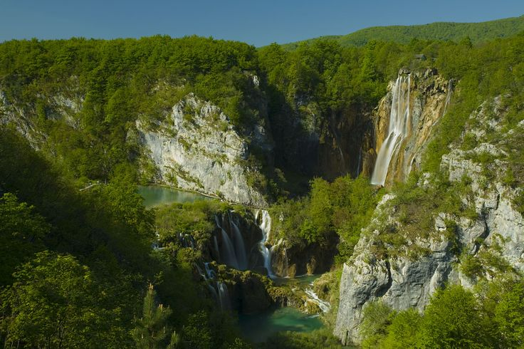 Plitvice lakes are the most popular national park in Coratia. It is terraced system of fresh water lakes connected together by cascades and waterfalls. Area of national park Plitvice lakes was listed in UNESCO since 1979.