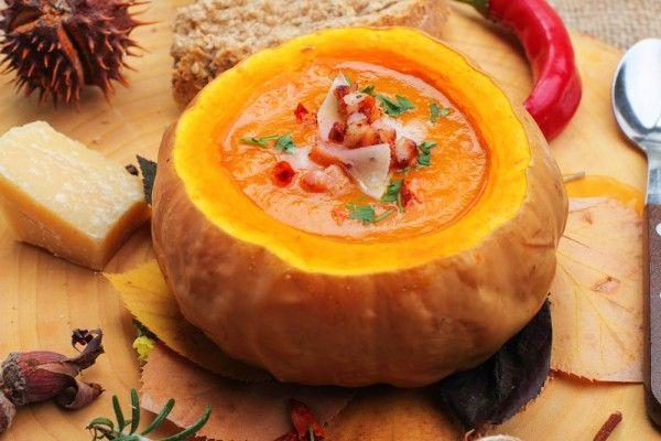 Pumpkin soup with croutons and pumpkin seeds.