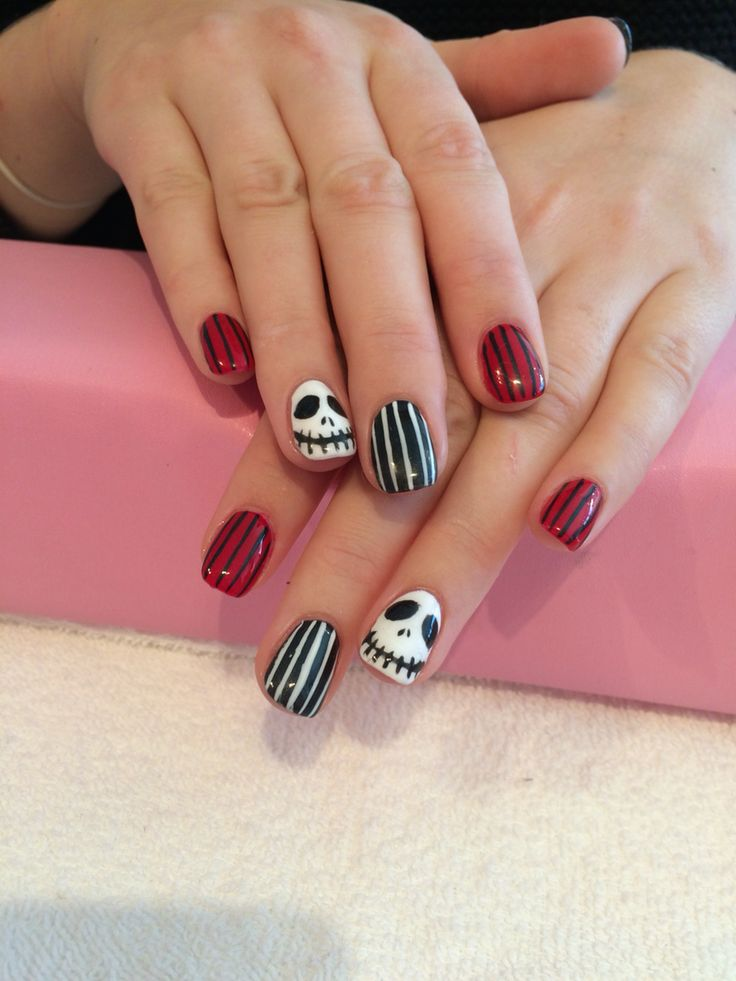 Nightmare before Christmas nails hand painted with shellac over acrylic nails done by Trine Fajardo at California Nails