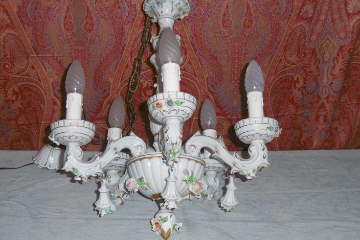 lampadario capodimonte : lampadario Capodimonte porcellana fiori candeliere lampada lamp
