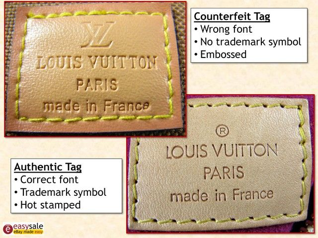 "Louis Vuitton | Fake vs Real | Fakes emboss the trademark symbol; authentic ones use hot stamping. Real trademark symbols are evenly stamped; fakes are uneven & use a different font. Fake tag is roughly stitched; real tag has straight stitching with a slight angle. In any stamped branding, the ""t""s will not touch. ""O""'s will be round & not like number 0. Check imprint on inside of the bag. The ""O"" in a real LV will be an exact circle; fake Louis Vuitton may be closer to an oval."