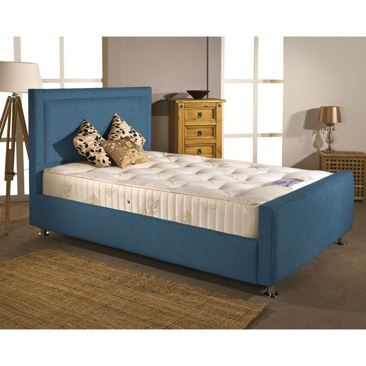 Calverton Divan Bed and Mattress Set Teal Chenille Fabric Double 4ft 6