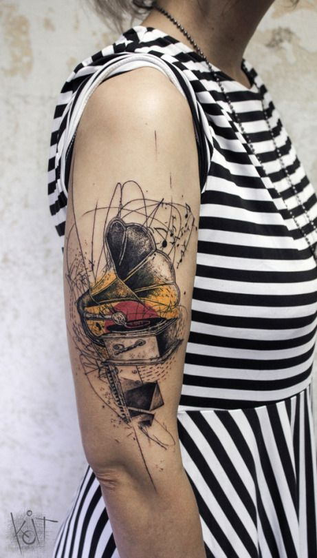 Koit Tattoo, Berlin. Graphic style / abstract gramophone arm tattoo. Music tattoo | Tattoo ideas | cool tattoo design | tattoos for women | Inked girl | Berlin tattoo artist