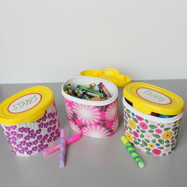 Repurposing baby formula tubs into pretty art supply storage
