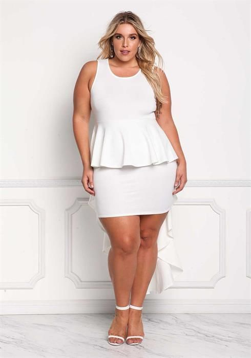 32d7ae89b1 Plus Size Peplum Ruffle Hi-Lo Bodycon Dress  plussizemodelling ...