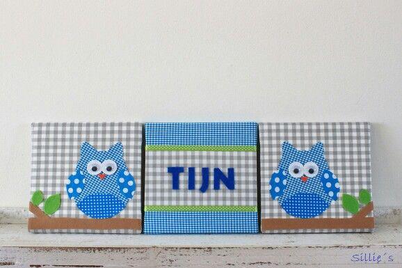 #Drieluik canvas met de naam Tijn. Leuke #uiltjes in de kleur aquablauw. Kijk ook eens op mijn Facebook pagina www.facebook.com/SilliesCreations voor nog meer handmade producten