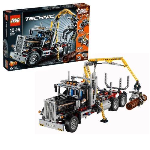 Monsterteil:    Der LEGO Technic: Holztransporter (LEGO-Nr. 9397) kann in ein Containerfahrzeug mit Schneeschaufel umgebaut werden.    - Holztransporter ist ca. 36 cm hoch, 23 cm breit und 50 cm lang  - Containerfahrzeug mit Schneeschaufel ist ca. 22 cm hoch, 15 cm breit und 56 cm lang  - LEGO-Teile: 1308