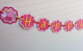 Peppa Pig Inspirded bannière bannière anniversaire par SweetBugABoo