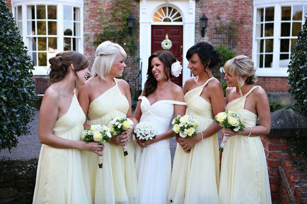 Lemon bridesmaids' dresses
