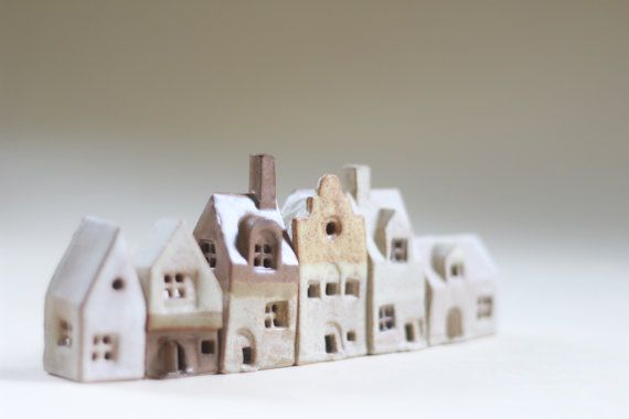 Pottery and ceramics little clay houses. Tiny village of 6 ceramic cottages. Christmas gift. British architecture house warming present.