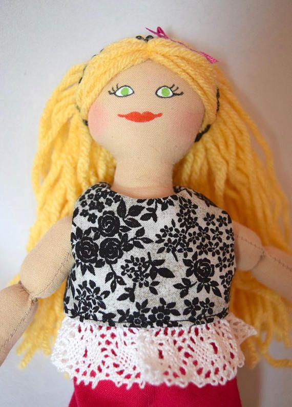 Blonde Girl Doll  Toy Doll For Kids  Handmade
