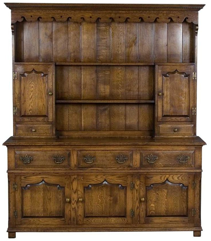 English Antique Oak Welsh Dresser or Kitchen Hutch.