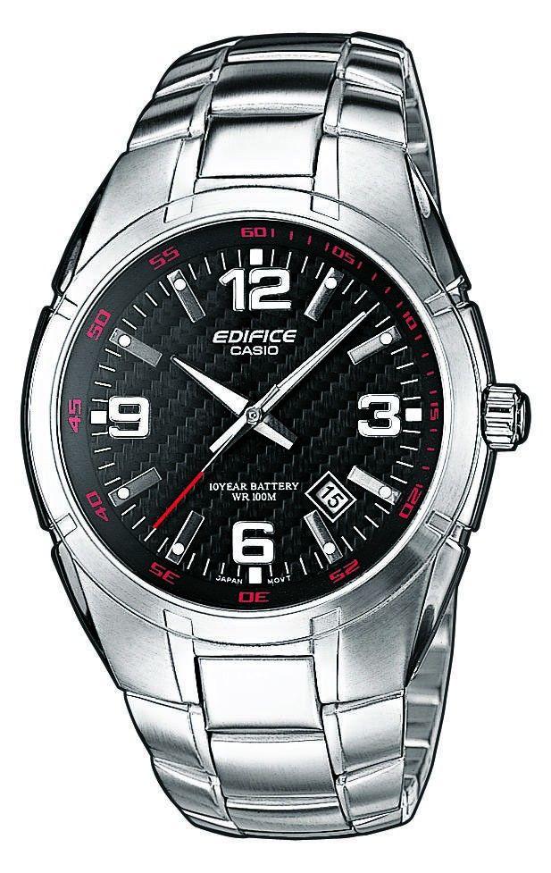 Casio Edifice Herenhorloge EF-125D-1AVEF. Zowel de index als de wijzers hebben een fluorescerend laagje waardoor de wijzers en index in het donker oplichten. Het glas van dit mooie horloge is bol zodat de weerstand tegen druk groter is. De bodem van het horloge is verschroefd zodat het verwisselen van een batterij erg eenvoudig is. De waterdichtheid van dit stoere horloge bedraag 10 atmosfeer. U mag er dus mee zwemmen. Dit model weegt ca. 120 gram.