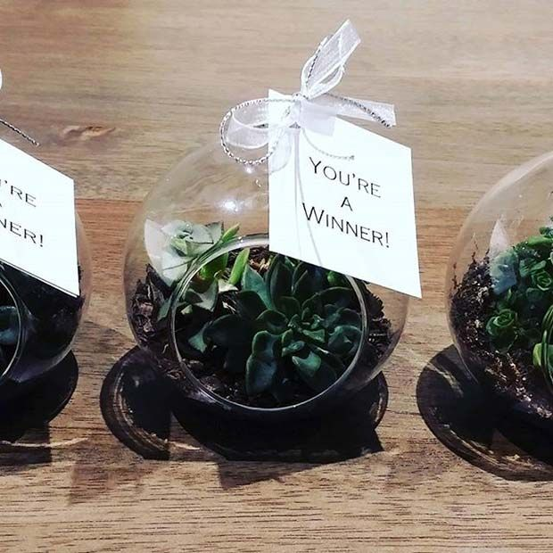Green Mini Terrarium Prize Idea for Bridal Shower Games