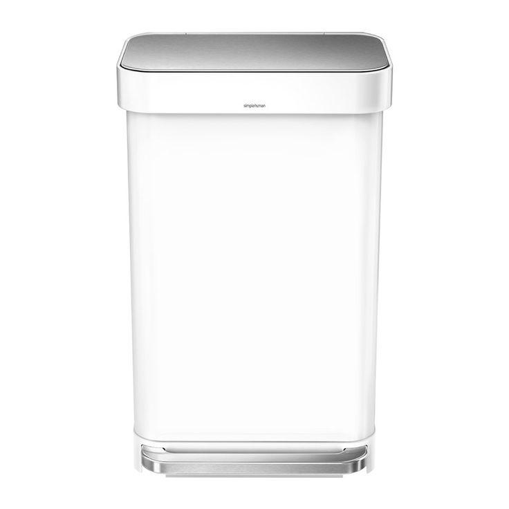 White Kitchen Bin Part - 30: Rectangular Pedal Bin With Liner Pocket - White - 45 Liter