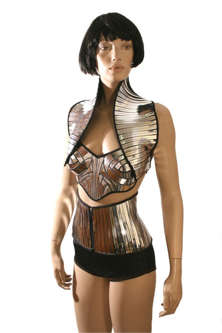 apocalyptic bolero sci fi robot futuristic short waistcoat  steampunk cybergoth armor. $149.00, via Etsy.