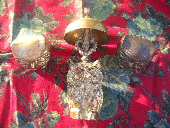 Latón campana y 2 latón buho estatuillas del por TheHuHunnyShop