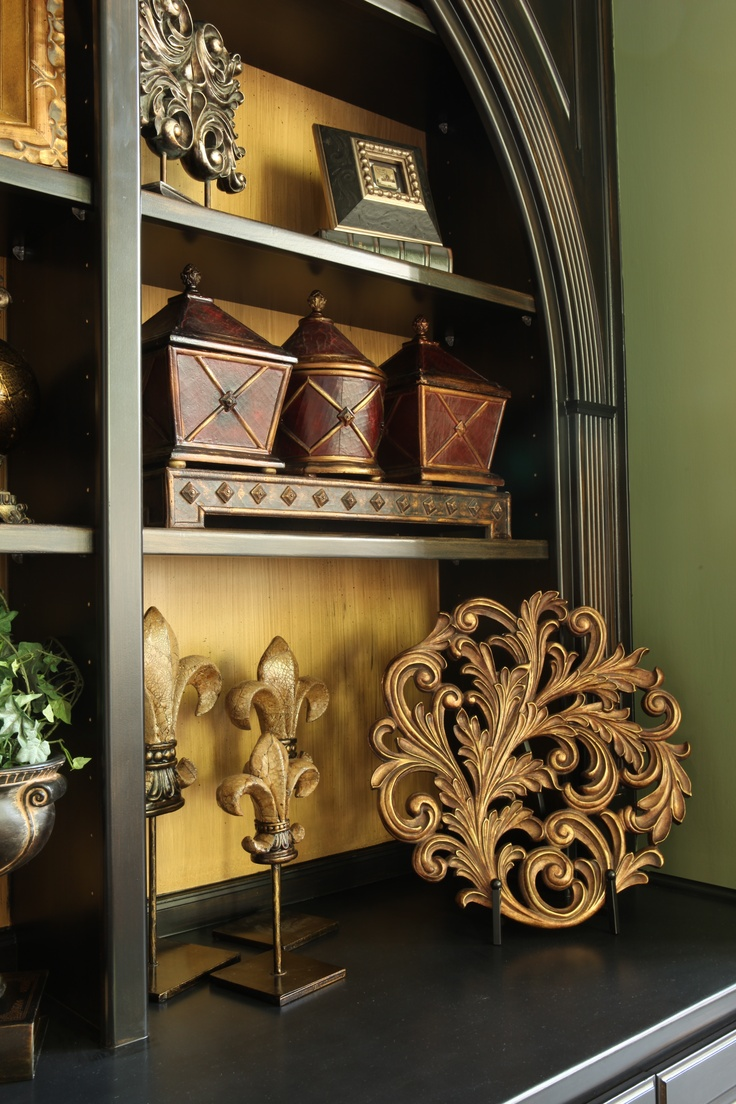 """Adding Drama to white bookcases. CCFF distressed these bookcases in an ebony stain. We also applied a """"faux"""" finish to the back wall. Great look!"""