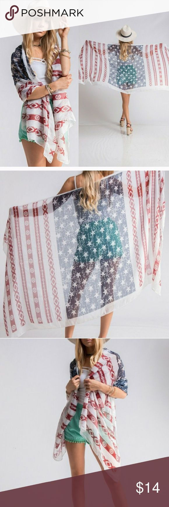 Aztec American Flag scarf/shawl 🇺🇸👙 Adorable Aztec American Flag Shawl. Great for the 4th of July! New in package! 😊🇺🇸 Accessories Scarves & Wraps