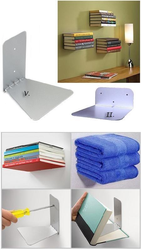 Rejtett polc az ötletes és különleges megoldások kedvelőinek. Falra, vagy akár szekrényre is felszerelhető. Az erősített acél polcra rakott könyvek, ú...