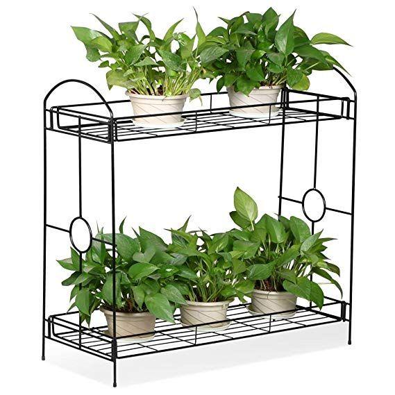 2 Tier Metal Plant Stand Indoor//Outdoor Flower Pot Rack Planter Shelf Holder
